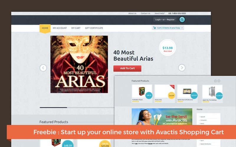 Top 10 Incredible Freebies For Web Designers and Developers - Avactis shopping cart